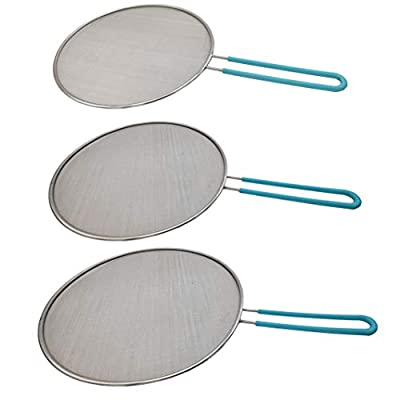 """Amestar Grease Splatter Screen For Frying Pan Cooking - Stainless Steel Mesh Splatter Guard Set of 9.8"""", 11.5"""" and 13"""" inch -Skillet Lid- Hot Oil Shield to Stop Prime Burn"""
