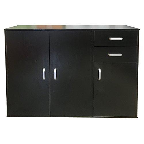 Redstone Sideboard Kommode 3 Türen + 2 Schubladen (Schwarz)