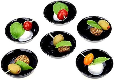 Urban Lifestyle 6 cuencos para salsas, redondos, esmaltados a mano, color negro