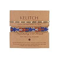 KELITCH 2PCSカラフルストランドブレスレットボヘミアン友情パールビーズブレスレットファッションジュエリー(グリーンブルーA)