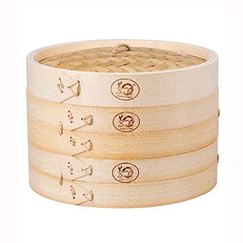 ZLJ Juego de vaporera de Acero Inoxidable vaporera de bambú