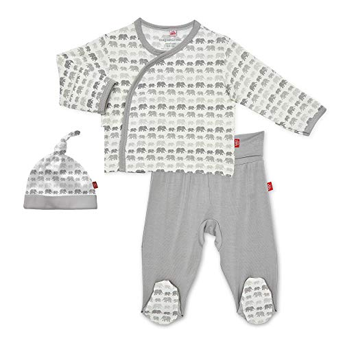 Magnetic Me Layette Baby Outfit Easy Close 3 Piece Soft Modal Set - Kimono Top, Footed Pants and Newborn Hat - Dancing Elephants Grey Preemie