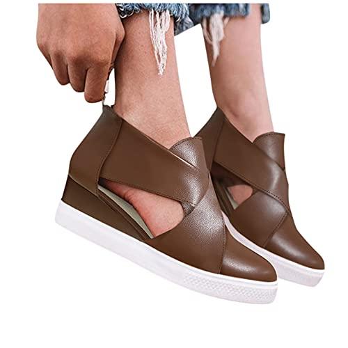 Briskorry Botas de tobillo retro para mujer, elegantes, con cremallera, botas cortas, para verano, otoño, planas, con cuña, transpirables, para el tiempo libre, para deportes al aire libre