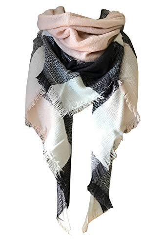 Wander Agio Womens Warm Scarf Triangle Shawls Large Scarves Stripe Plaid Fichu Big Plaid Grey Pink 11