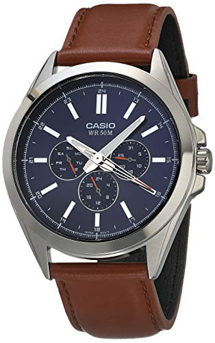 Casio Men's Classic Stainless Steel Quartz Watch with Leather Strap, Brown, 22 (Model: MTP-SW300L-2AVCF)