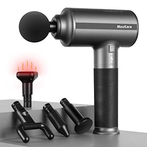 Maxkare Massagepistole Massagegerät Percussion Massage Gun mit Wärmefunktion, bessere Muskelentspannung, Elektrische Muskel Massagepistole mit 5 Köpfen, 3 voreingestellte Modi, Tiefenmassage