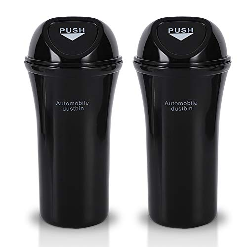 Accmor Car Trash Can with Lid, Vehicle Cup Holder Trash Bin Auto Dustbin Garbage Organizer Storage, 2 Pack Black Mini Garbage Bin Container and Garbage Bag Set for Cars, Home, Office