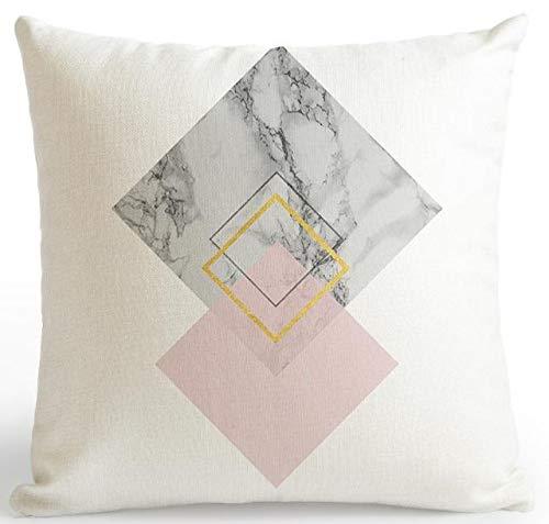 DSHRTY taie d'oreiller,Rose et Or taies d'oreiller marbre Coussin géométrique Diamant Forme Texte oreillers décoratifs pour la Maison canapé, A5, 45x45 cm Juste Couvrir