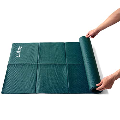 Lions Travel Yoga Mat Lightweight Foldable, Anti-Slip Portable Eco Friendly, Ideal for Exercise Fitness Training Pilates Gym Workout (Dark Green)