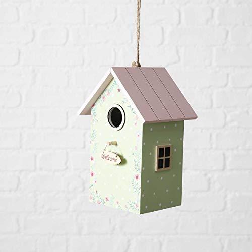 Objektkult Vogelhäuschen Antonia grün mit rosa Dach (Maße 22 x 15,5 x 13 cm) in Pastell-Tönen, Vogelhaus aus Holz mit Anflugstab, auch als Nistkasten geeignet für kleinere Vögel!