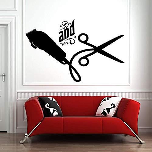 Adhesivo decorativo para pared, diseño de peluquería y peluquería, 89 x 57 cm