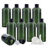 YAMAXUN 24 PCS - Botellas De Plástico Vacías De 100 Ml con Tapas De Rosca De Aluminio Negro Y Reductores De Orificio Recipientes Rellenables para Desmaquillador Cosmético Aceite Esencial,200ML