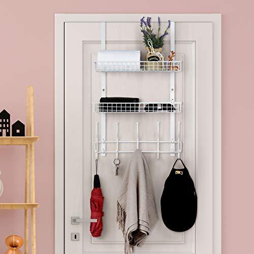Over The Door Hanger with 2 Mesh Baskets 5 Hooks, Detachable Storage Organizer Rack for Coats, Hats, Handbags,Towels, Easy Install Metal Hanging Hook Rack Shelf, White