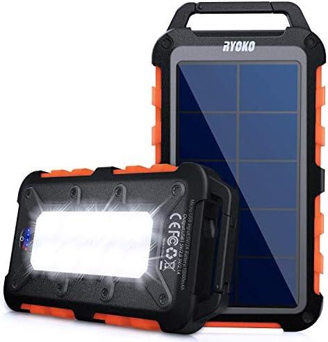 Solar Power Bank Ryoko 10000mAh Portable Solar Charger Ipx4 Waterproof Phone External Battery product image