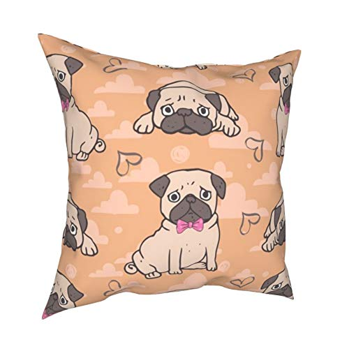 Sweet Pug Orange Square Throw Pillow Covers Cushion Case Pillowcase for Home Decor Sofa Couch Bedroom Car 45x45cm