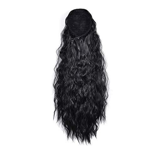 Peluca Moda Larga Wavy Light Wig Pelucas para mujer Pelucas de 22 pulgadas Pelucas de cabello Bolsa de cabello Peluca Panalón Ponillo Largo Onda Profunda Lugar de Ponillo Extensiones Espalda Ponial Si