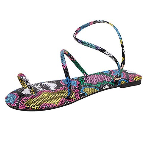 Damen Sandalen Schlangenhautmuster Bequeme Flache Beach Strandsandale Slingback Peep Toe Sommer Outdoor Sandals Freizeitschuhe(1-Mehrfarbig/Multicolor,37)