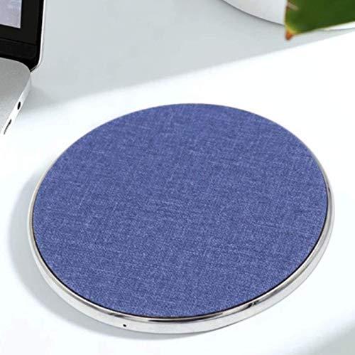 QI Jean stof laadstation, compatibel met Android en iPhone XS, XS Max, XR, 8, 8plus, iPhone X, contactloos laden, jeans Qi Charger, laadkabel, laadstation van textiel - Jean stof rond