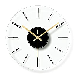 Tree House Tempered Glass Wall Clock, Round Silent Modern Simple Clocks Radio Controlled punctual Slim Decoration for Bedroom Office Kitchen-D d:29.5cm