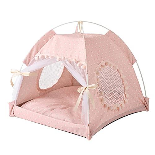 Cama de nido para mascotas de verano, para perros, carpa plegable, suministros para mascotas, 15.7 en 15.7 pulgadas (rosa)