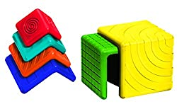 Shapes are colourful, stackable and nestable allowing children to discover and create new forms Stimulates visual and tactile sensory with 6 cubes in different colours, sizes and textures Varying sizes and nesting feature develops fine motor skills, ...