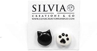 Orecchini a lobo con testa di gatto e zampa nera