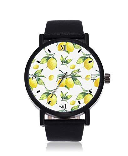 Funny Food Yellow Lemon Ultrafino - Reloj de Pulsera para Hombre y Mujer, Estilo Casual, Deportivo, de Cuarzo, Impermeable, Unisex