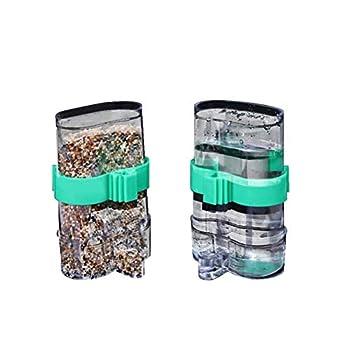 Lot de 2 mangeoires automatiques pour oiseaux - Distributeur d'eau pour perroquet - Distributeur de nourriture pour perruches, calopsittes