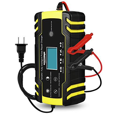Car Battery Charger, 12V / 24V car Battery Charger, Fully Automatic, Smart trickle Charger with LCD Touchscreen for car, Motorcycle, Lawnmower or Boat (Batteries from 6Ah-150Ah)