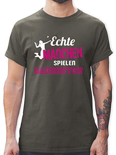 Sonstige Sportarten - Echte Mädchen Spielen Badminton - XL - Dunkelgrau - L190 - Tshirt Herren und Männer T-Shirts
