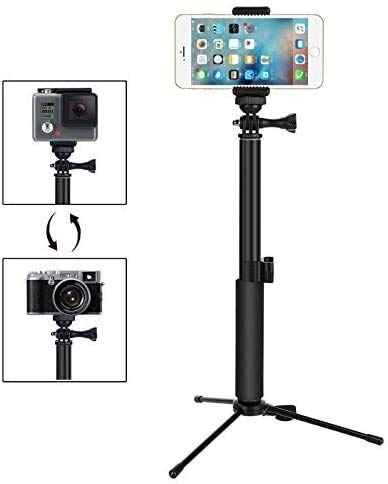 Rugged tripod PC Action Camera Selfie Stick Lightweight Portable Sponge Handle Aluminum Selfie Stick with Tripod and Phone Holder Suitable for Gopro Action Cameras and Most Mobile Phones best gift