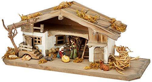 Unbekannt NK04 Krippenstall - Weihnachtskrippe - Holzkrippe - Tischkrippe inkl. 3 Teilg. Figurenset, Vollholz, Bunt, 30 x 11 x 13 cm