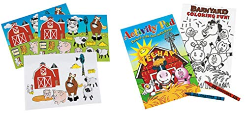 36 Piece Farm Animal Party Favor Set- Coloring Books, Crayons, and Stickers