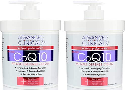 Advanced Clinicals CoQ10 Wrinkle Defense Cream w (Two - 16oz)