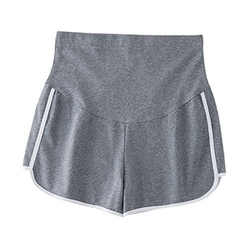YUUMIN Pantalones cortos deportivos para mujer de maternidad, pantalones cortos para yoga, pantalones cortos de verano, gris, XX-Large