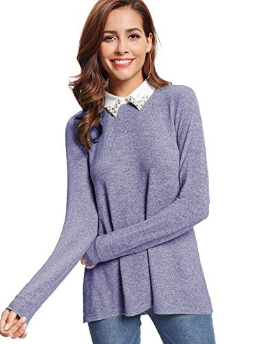 DIDK Damen Langarm Pullover Farbblock Loose Tunika Faux Twinset Elegant Bluse mit Perlen Blau M