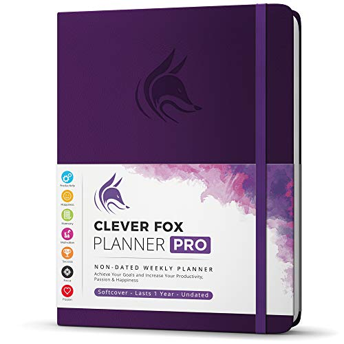 """Clever Fox Planner PRO - Weekly & Monthly Life Planner to Increase Productivity, Time Management and Hit Your Goals - Organizer, Gratitude Journal - Undated - 8.5 x 11"""" - Lasts 1 Year (Purple)"""