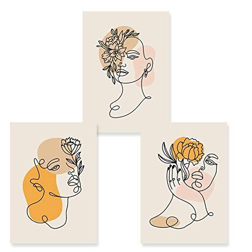 KELEQI Impresiones de Carteles Modernos Silueta de Rostro de Mujer Dibujo de línea Floral Lienzo Imágenes artísticas de Pared Dormitorio Abstracto Decoración del hogar (20x35cm) X3 Sin Marco