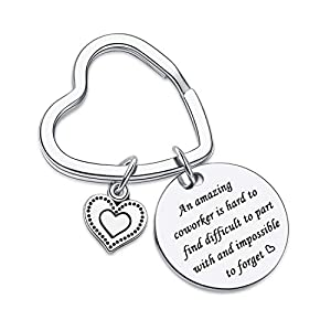 An amazing coworker is hard to find difficult to part with and impossible to forget Keychain, Coworker Appreciation keychain Friendship keyring Phrase Engraved on stainless steel material keychain.vividly and in a way that is easy to understand. advi...