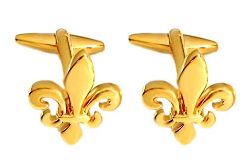 Unbekannt Lilien Manschettenknöpfe vergoldet glänzend + Geschenkbox