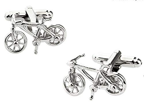 ZNYD Diseños Moda Motocicleta Gemelos Novedad Deporte Bicicleta diseño Calidad Material de latón Hombres puños (Metal Color : Bike4)
