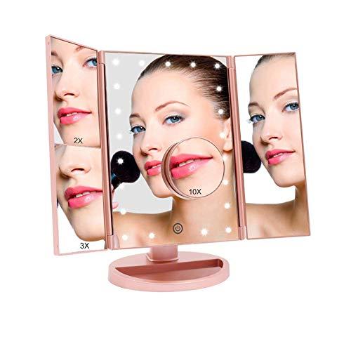 Espejo Maquillaje con Luz, Espejo de Mesa FASCINATE Tríptica Espejo con Aumentos 10x, 3x, 2x, 1x Iluminacíon 21 Led Pantalla táctil Lámparas Rotación de 180° Espejo Cosmético Carga con USB o Batería
