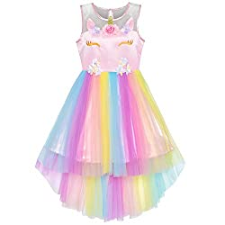Multicolor Unicorn With Sequin & Mesh Princess Tulle Dress