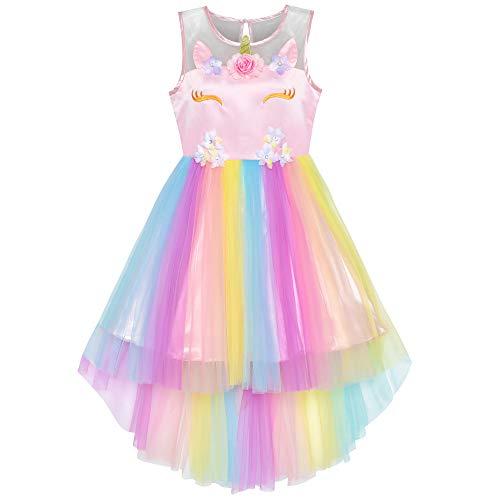 Sunny Fashion Mädchen Kleid Blume Einhorn Regenbogen Festzug Prinzessin Party Gr. 134
