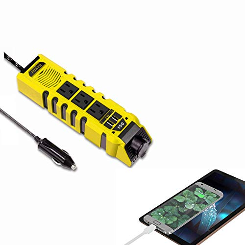 VEMOTE 150W Car Power Inverter Charger DC 12V to 110V AC Converter with 2.4A Dual USB Ports 3 Charger Outlets and 1 Cigarette Lighter Socket Adapter for Phones Tablets PC Laptops