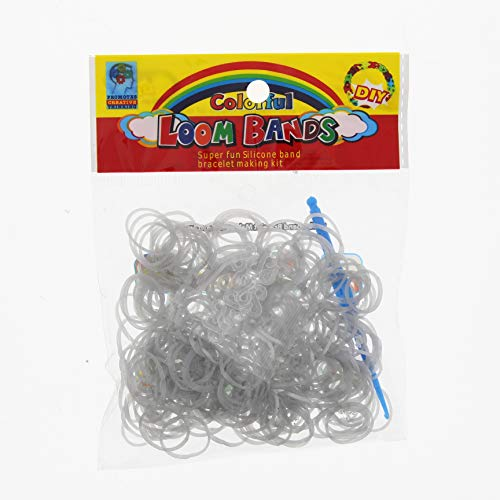 ETHAHE 600pcs Loom Bands Elastiques Argent Métallique Bracelet à Tricoter sans Latex avec 24 S-Attaches & 1 Crochet