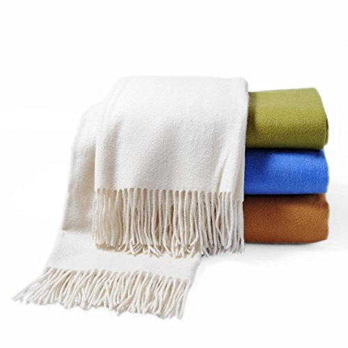 CUDDLE DREAMS Premium Cashmere Throw Blanket with Fringe, Luxuriously Soft (Ivory)