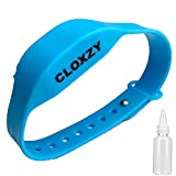 CLOXZY Premium Hand Sanitizer Bracelet - Wearable Wrist Band - for Travel and Daily Use - Perfect Fit for Family, Adult and Kids (sanitizer not included) (Blue)