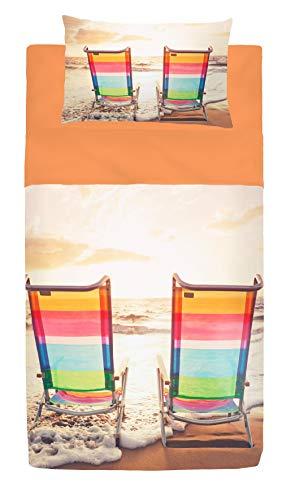 GoldenHome Set Lenzuola Letto Singolo/COPRILETTO Estivo Postcard 100% Cotone con Stampa Fotografica. Federa + Lenzuolo sotto + Lenzuolo sopra Stampato