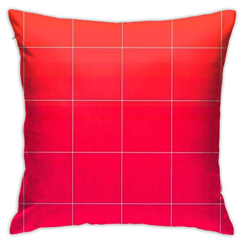 Throw Pillow Cover Cushion Cover Pillow Cases Decorative Linen Pink Grid for Home Bed Decor Pillowcase,45x45CM
